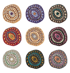 Hand drawn colorful Indian art ornaments in boho vector