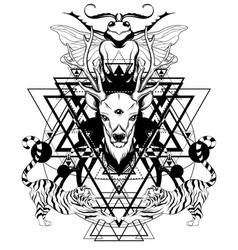 Hand drawn deer with tigers vector