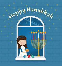 Happy hanukkah greeting card jewish holiday girl vector