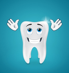 Happy shiny tooth hands raised looking up vector