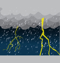 Heavy rain and lightening in dark sky vector
