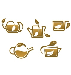 Herbal tea symbols and icons vector image