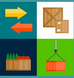 Import export fruits box vector
