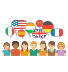 International kids communication in different vector image