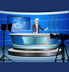 journalist at work from tv studio vector image