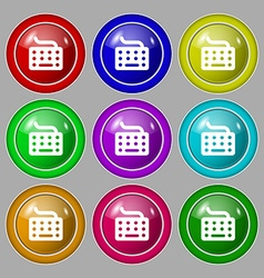 keyboard icon sign symbol on nine round colourful vector image vector image