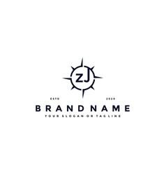 Letter zj compass logo design vector