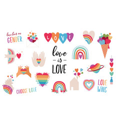 Lgbt elements for valentines day love symbols vector