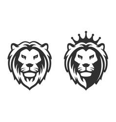 lion head emblem on white background vector image