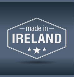 Made in ireland hexagonal white vintage label vector