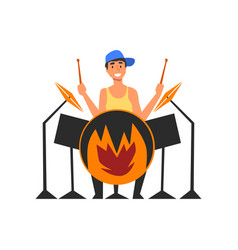 male drummer playing drums man sitting behind vector image