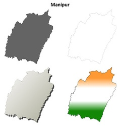 Manipur blank detailed outline map set vector image