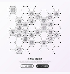 mass media concept in honeycombs vector image