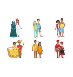 Men and women dressed folk costumes various vector
