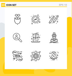 Modern set 9 outlines pictograph networking vector