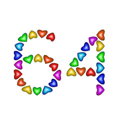 Number 64 sixty four of colorful hearts on white vector
