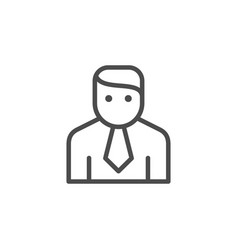 office worker in tie line outline icon vector image