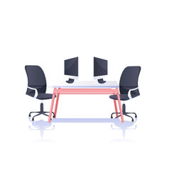 office workplace desk with laptops and armchairs vector image