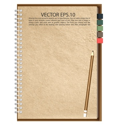 Old Brown paper Notebook vector image