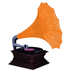 Old gramophone - phonograph with orange shade vector