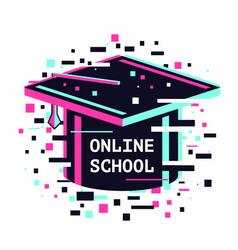 online school icon e-learning emblem internet vector image