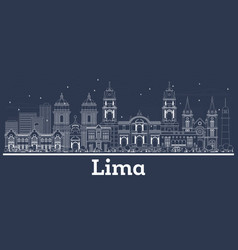 Outline lima peru city skyline with white vector