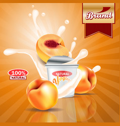 Peach yogurt adssplashing scene with package and vector