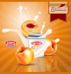 peach yogurt adssplashing scene with package and vector image
