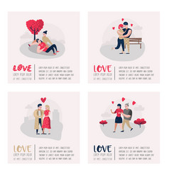 people in love characters for poster banner vector image
