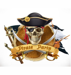 Pirate party 3d emblem vector