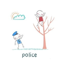 Police near the tree on which sits a criminal vector