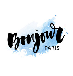 poster calligraphy with bonjour translation hello vector image