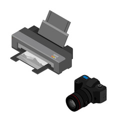 printer and photo camera vector image