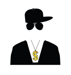 rapper with dollar chain vector image