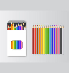 realistic detailed 3d box of colored pencils and vector image