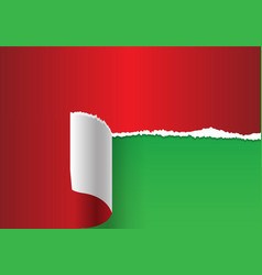 Red paper torn on green vector