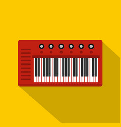 Red synthesizer icon flat style vector