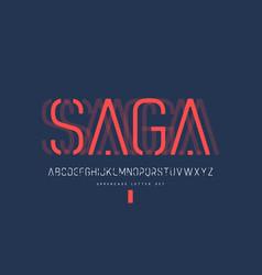 Rounded linear sans uppercase letter set vector