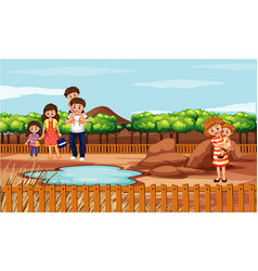 Scene with people in park vector