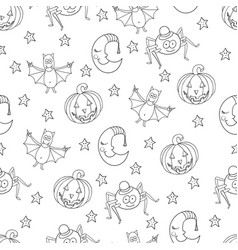 seamless halloween cartoon pattern with characters vector image