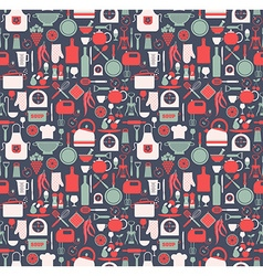 Seamless pattern of kitchen on blue vector image