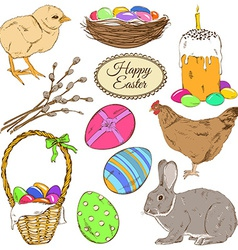 set colorful easter icons vector image
