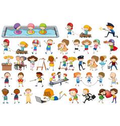 set kid charcter vector image