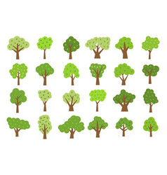 set of twenty four green trees with leaves vector image