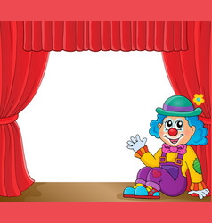 Sitting clown theme image 2 vector
