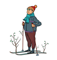 Skier male in a forest young trees vector