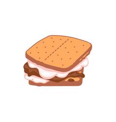 Smore made chocolate and marshmallow cartoon vector