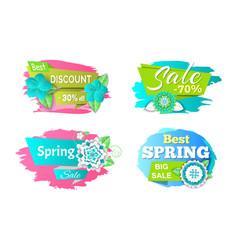 spring sale seasonal proposition of markets set vector image