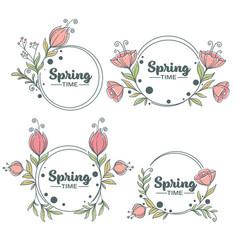 Spring time doodle floral frames with fresh vector