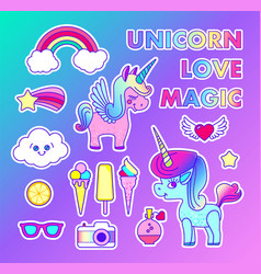 Stickers set with unicorn rainbow star comet vector
